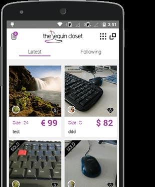 the Sequin closet mobile app
